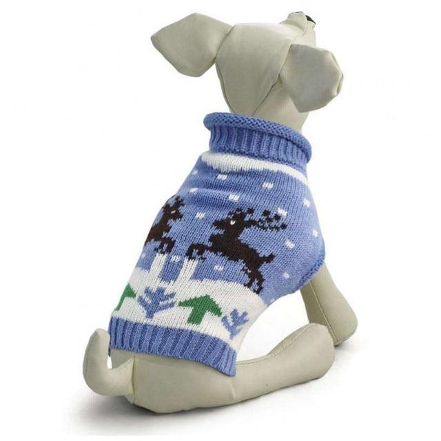 Свитер для собак Triol, голубой с оленями, L