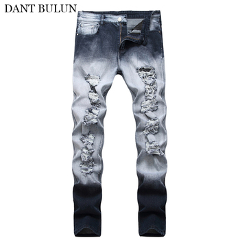 Mens Jeans Stretch Ripped Distressed  Beggar Skinny Slim Fit Jeans Men Black Gray Trousers Homme Pants Korean Fashion skinny jeans for men distressed stretch jeans ice blue ripped skinny jeans slim fit dropshipping supply white tape design