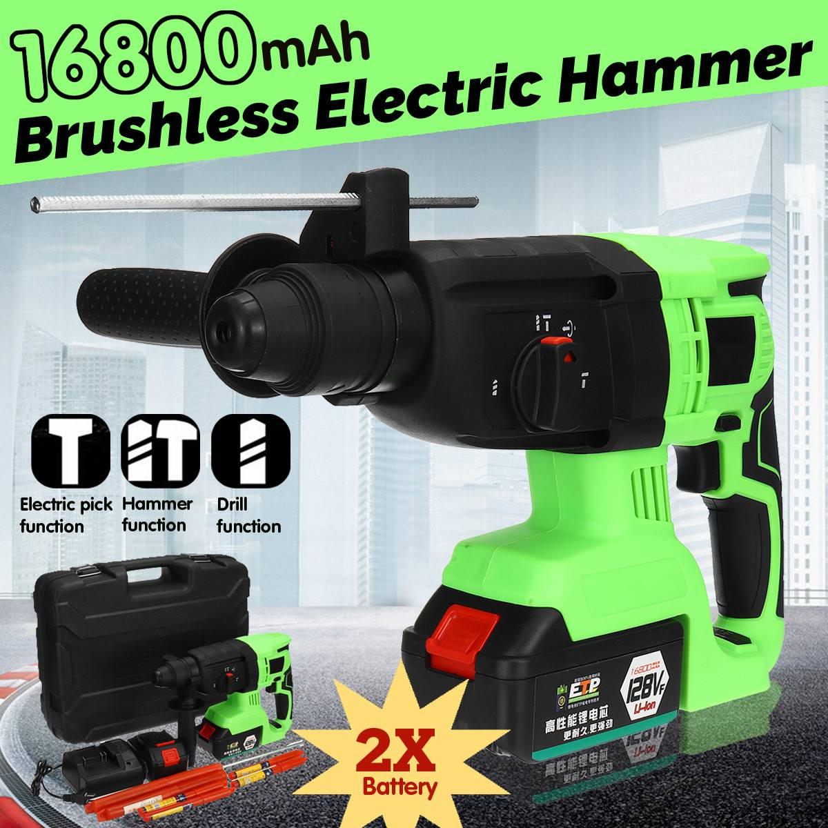 16800mAh 128VF Electric Hammer Brushless Cordless Lithium-Ion Hammer Drill with 2 Battery  Tools