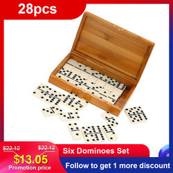 NEW Double Six Dominoes Set Entertainment Recreational Travel Game Blocks Wooden Building Learning Educational Toy Dot Dominoes
