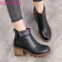 GKTINOO botas de Mujer de tacón cuadrado botas de plataforma para Mujer de cuero genuino muslo tacones de salón botas Zapatos de motocicleta