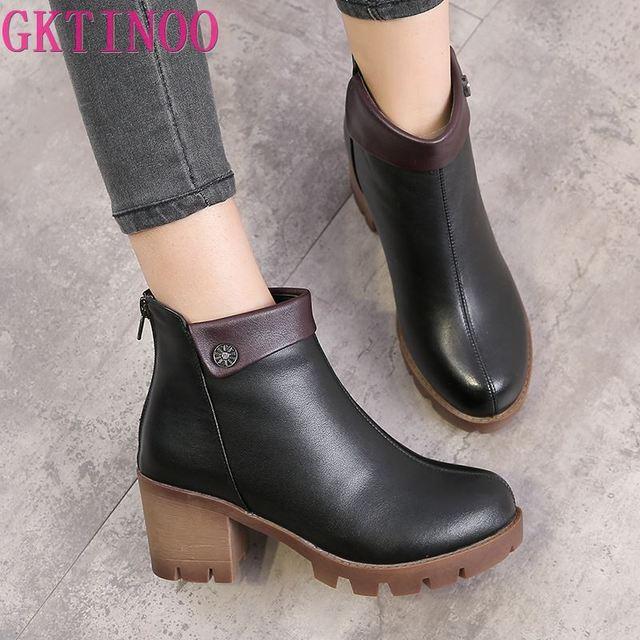 Gktinoo女性のブーツの正方形ヒールプラットフォームzapatos mujer本革腿の高パンプスブーツオートバイの靴