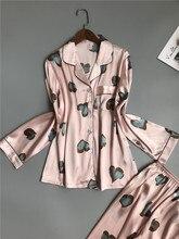 2 stück Herbst Frauen Nachtwäsche Faux Silk Satin Pyjamas Set Langarm Nachtwäsche Pyjamas Anzug Weibliche Homewear Sexy Nachtwäsche