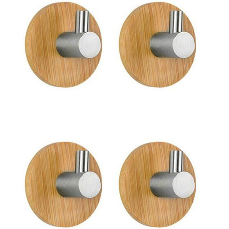 EASY-4Pcs L Shaped Adhesive Hooks Bamboo Wood & Stainless Steel Wall Hangers For Clothes Towel Holder For Home Kitchen