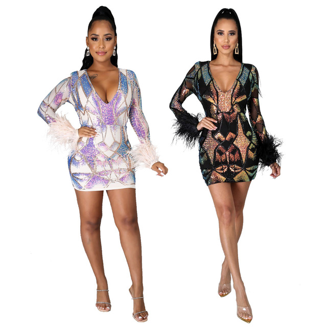 2020 Autumn And Winter Sexy Colorful Sequins Deep V Dress Party Dance Nightclub Color Shiny Perspective Tight Dress With Feathe 1