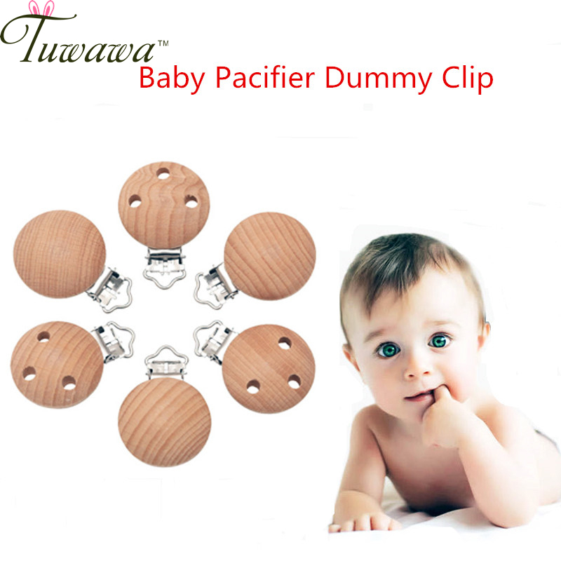 5pcs/lot Metal Natural Wooden Baby Children Pacifier Holder Clip Infant Cute Round Nipple Clasps For Baby Product