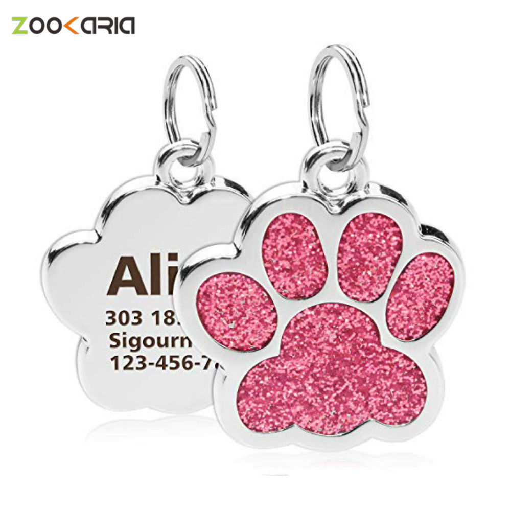 Personalized Dog Cat Tags Engraved Cat Dog Puppy Pet ID Name Collar Tag Pendant Pet Accessories Paw Glitter Pendant|ID Tags|   - AliExpress