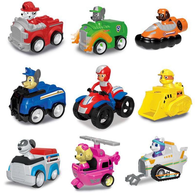 6/7/9pcs Lot Paw Patrol Dog Back Car Action Figure No Retail Box Dog Car Plastics Toy Anime Kids Birthday Gift Toy-no Box 44Z