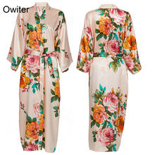 Owiter Long Floral Robe Kimono Blush Pure Silk Satin Flower Bathrobe Night Dress Wedding Robes for Bridesmaids Bride Sleepwear