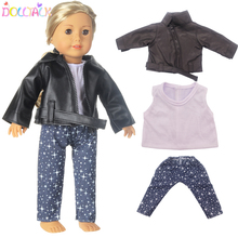 4 Pieces American Doll Clothes T shirt Jacket Coat Pants Shoes Suit For 43 cm Dolls And 18 Inch Doll Toy Accessories Doll Outfit
