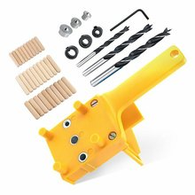 Woodworking Dowel Jig Drill Guide Positioning Tools with 3Pcs Metal Dowel Pins 6 8 10mm Drill Bits Wood Drilling Hole Saw Kit