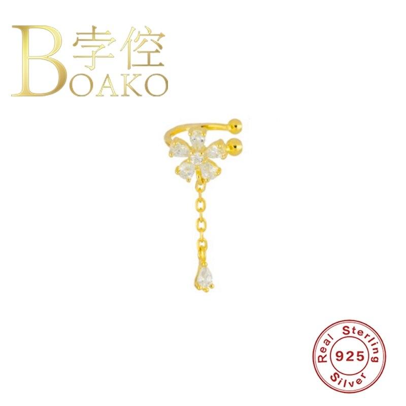 BOAKO 925 Sterling Silver Clip Earrings For Women Drop Zircon 2020 Flower Earring Ear Cuffs Earcuff Earings Jewelry Pendientes