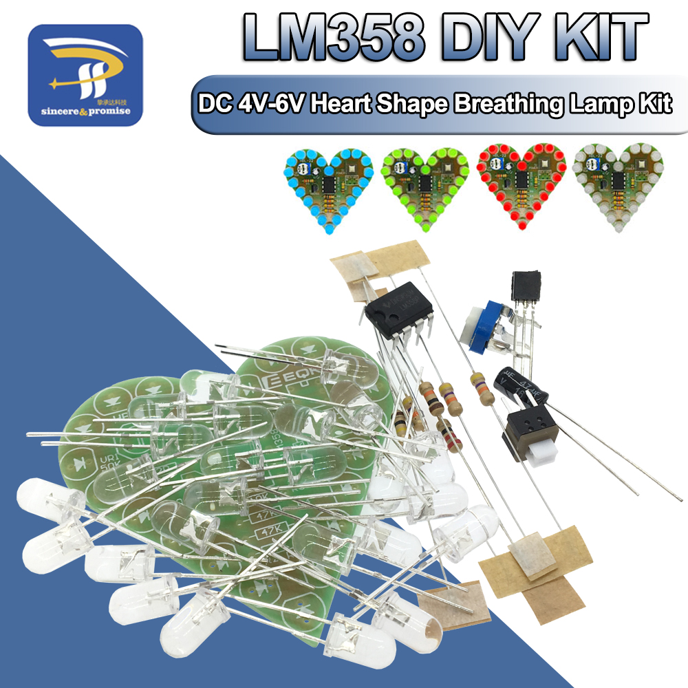 DIY Kit Heart Shape Breathing Lamp Kit DC 4V-6V Breathing LED Suite Red White Blue Green DIY Electronic Production for Learning(China)