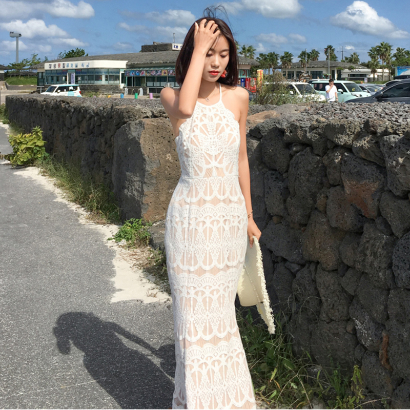 <font><b>Women</b></font> Maxi White <font><b>Backless</b></font> <font><b>Straps</b></font> <font><b>Lace</b></font> Bodycon Party <font><b>Dress</b></font> <font><b>Sexy</b></font> Summer Vacation Long Beach <font><b>Dress</b></font> Vintage Korean Runway Vestidos image