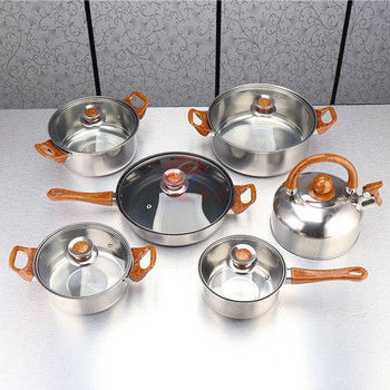 Stainless Steel Pot Cover Kit Wood Grain Handle With Kettle Cooking Multi-function Cookware Non-stick Pan Universal Kitchen Pot