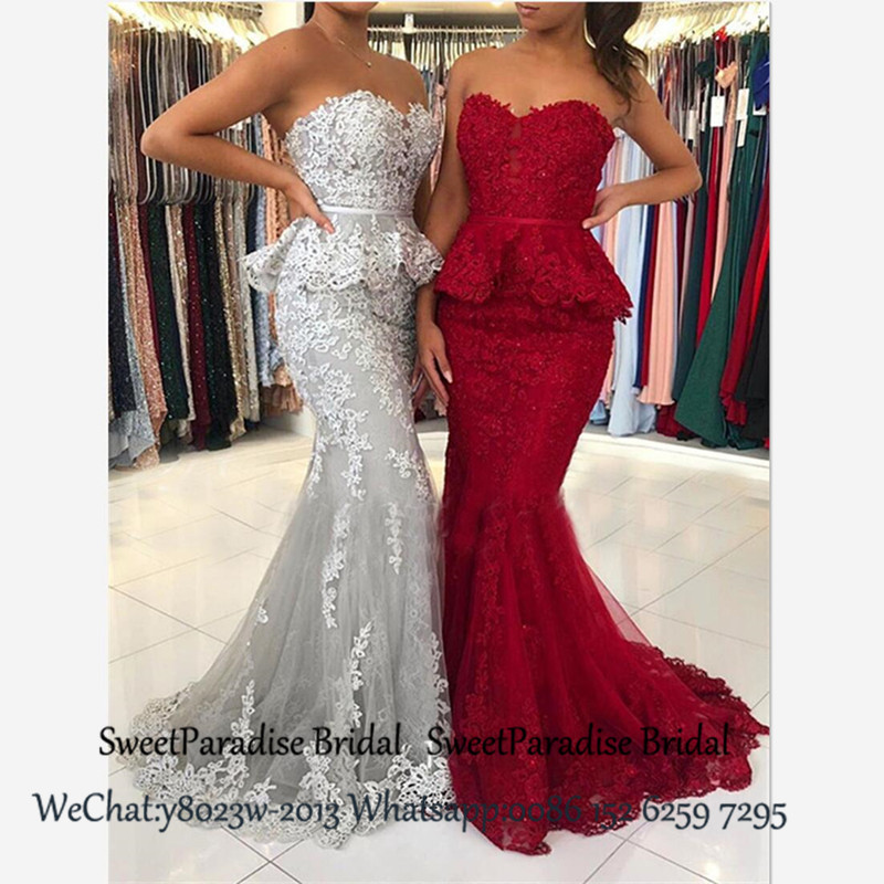 2020 Lace Mermaid Bridesmaid Dresses With Appliques Peplums Sweetheart Neck Vestidos Long Wedding Party Dress For Women