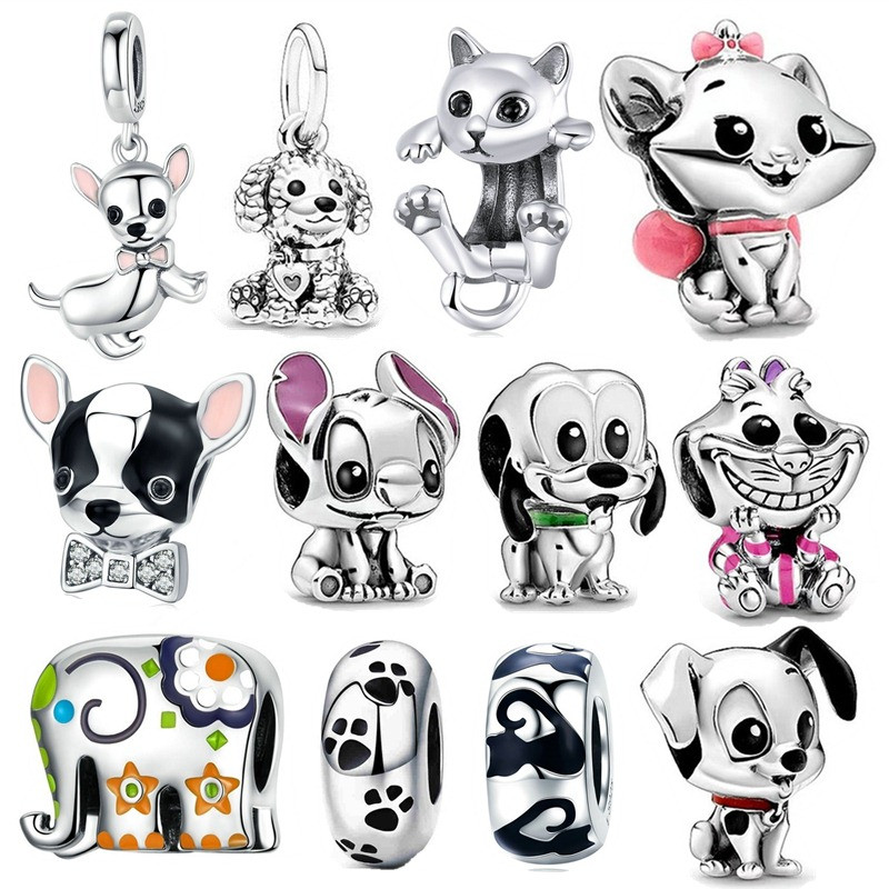 fit Pandora Bracelet Silver 925 Original Cute Happy Female&Male Dog Beads S925 Cute Patch Pluto Animal Charms diy Jewelry Making(China)