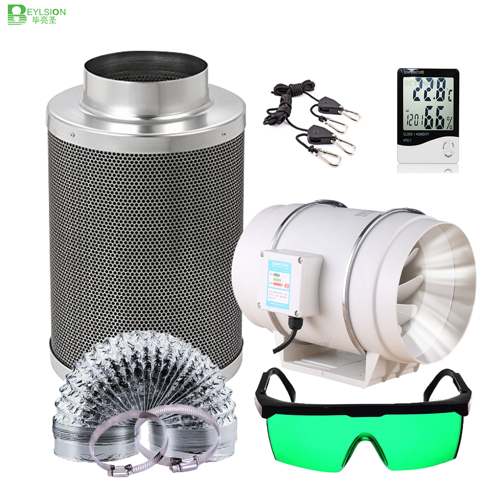 BEYLSION 4/5/6/8 Inch Grow Tent Full Kit Centrifugal Fans Activated Carbon Air Filter Set Indoor Hydroponics for Grow Box Indoor