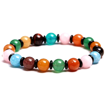 Natural Rainbow Crystal Bracelet 8mm Round Beads Color Gem Bracelet Lady Lucky Amulet Jewelry Beautiful Gift luck natural crystal stone obsidian bracelet 6 16mm amulet round beads stretch bracelet unisex for men women fashion jewelry