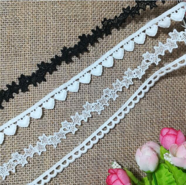 1Yards Embroidery Lace Trim Star Ribbon Cotton White Black Lace Fabric Love Lace Applique Sewing Trimmings dentelle ruban LP11