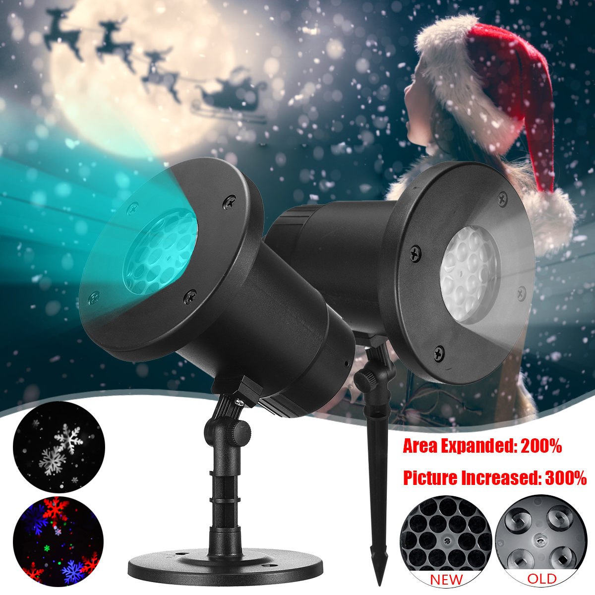 18 Holes Projector Lamp Outdoor Landscape Light Christmas Halloween Party Garden Decoration Waterproof Snowflakes Holiday Lamp