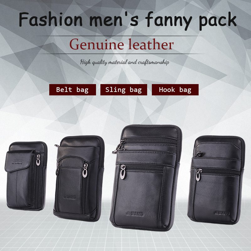 Genuine real Leather Shoulder bag wallet mans Pocket Waist body Pouch phone soft
