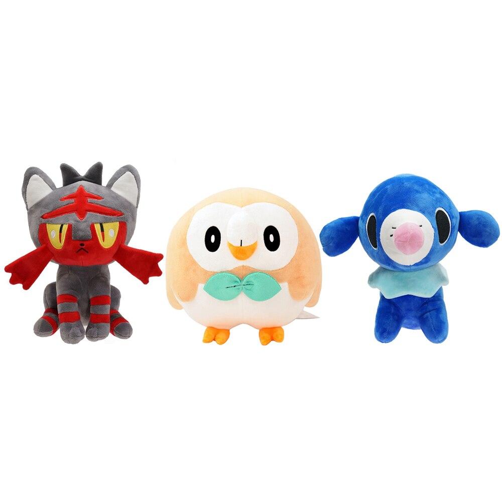 Peluche Kawaii de Anime Rowlet Litten Popplio Pikachu, muñeco de Pokémon, regalo para bebé, muñeco de peluche, gato, León, mar, búho, regalos de navidad