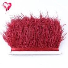 50 Цвета, длина 1 метр, Ширина 8-10 см; модные пышные окрашенные разноцветные страусиные перья ленточная отделка отделкой бахромой украшение для одежды