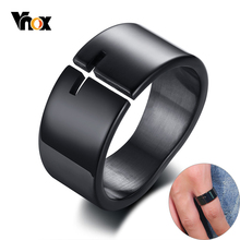 Vnox Stylish Hollow Cross Ring for Men Black Stainless Steel Irregular Shape Band Casual Male Religious Jesus Jewelry