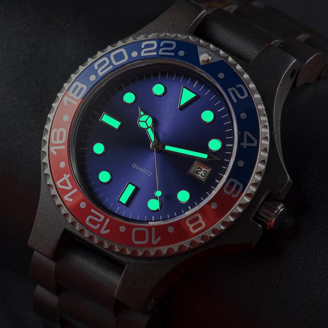 BOBO BIRD WO25 Sparkling Dial Face Men Dress Wooden Quartz Watch with Calendar Display Natural Wood Watches Relogio