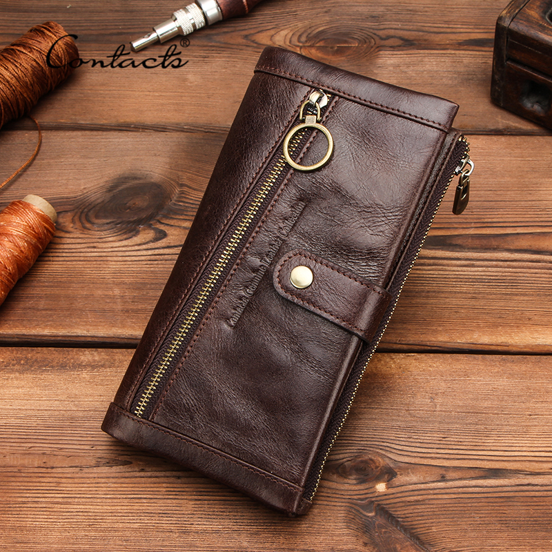 CONTACT'S Long Wallet Men Genuine Leather Purse Wallets RFID Blocking Clutch Bag Card Holder Coin Purses Zipper Phone Pocket