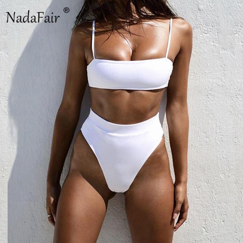 Nadafair High Waist Bikini Black 2020 Solid Women's Two-Piece Swimsuit Summer Beachwear Tankini Bathing Suit Women Bikini White
