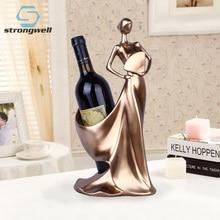 Creative Home Decorative Figurines Ornaments Modern Minimalist Blue Take Fan Beauty Wine Rack Decoration Creative Wedding Craft