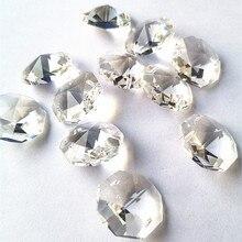Высокое качество прозрачные 22 мм Восьмиугольные кристаллы в 2 отверстия для хрустальной люстры лампы аксессуары Diy хрустальный орнамент домашний декор