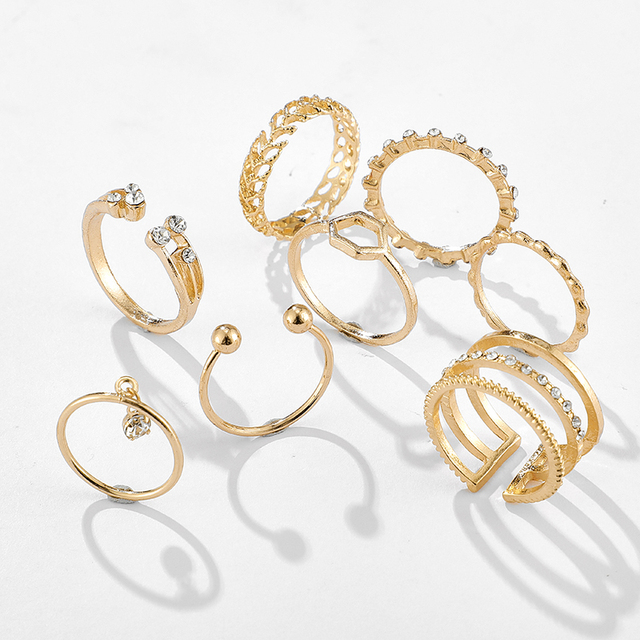 Tocona 8pcs/sets Bohemian Geometric Rings Sets Clear Crystal Stone Gold Chain Opening Rings for Women Jewelry Accessories 9012 4
