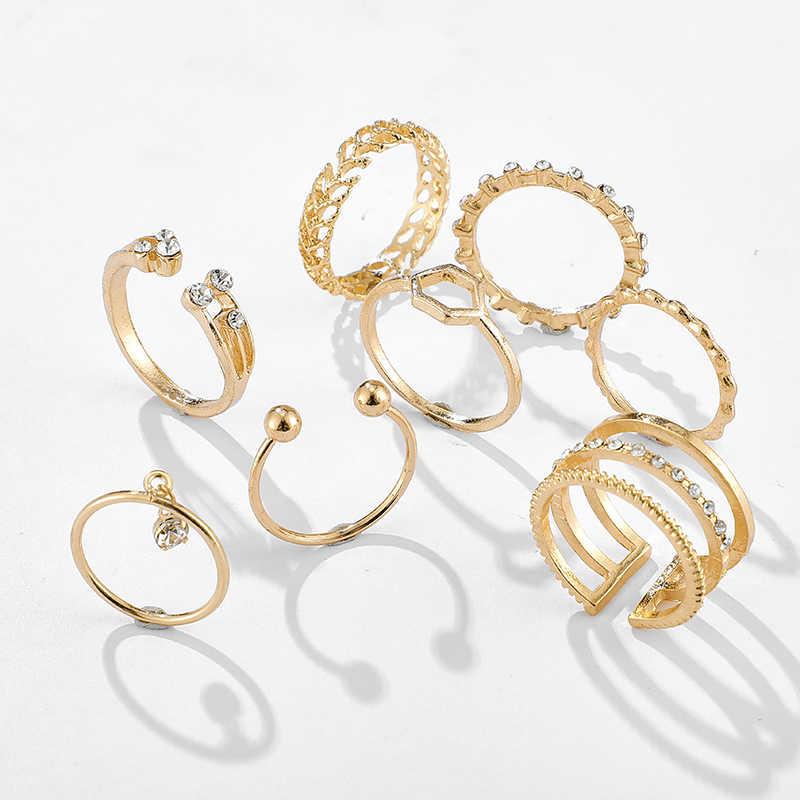 Tocona 8 adet/takım Bohemian geometrik yüzük setleri temizle kristal taş altın zincir açılış yüzükler kadınlar takı aksesuarları için 9012