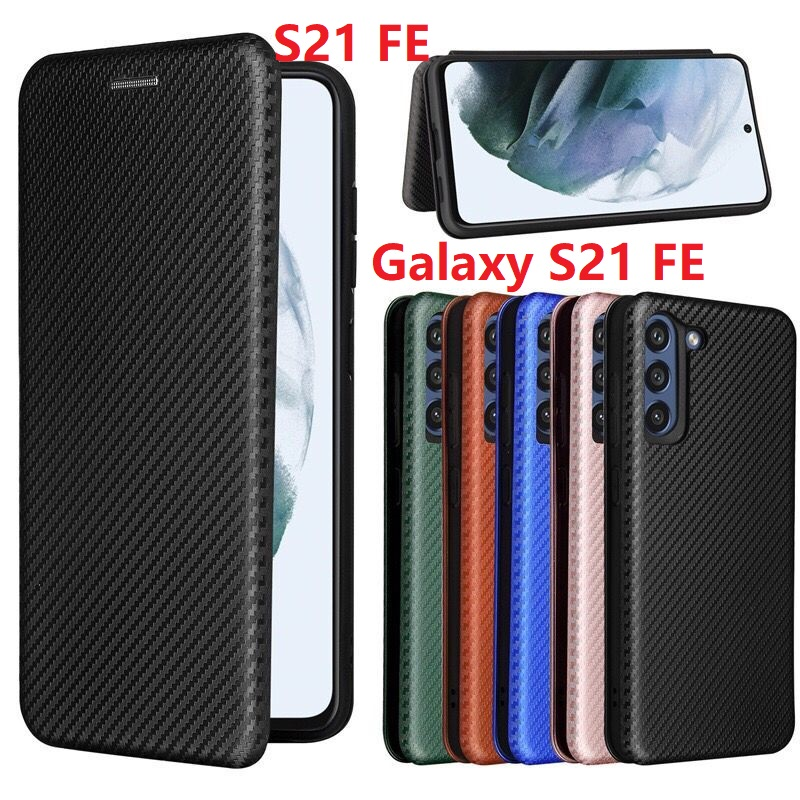 Чехол из углеродного волокна для Samsung Galaxy S21 FE, Магнитный чехол-книжка с подставкой и откидной крышкой, защитный кожаный чехол-бумажник для к...