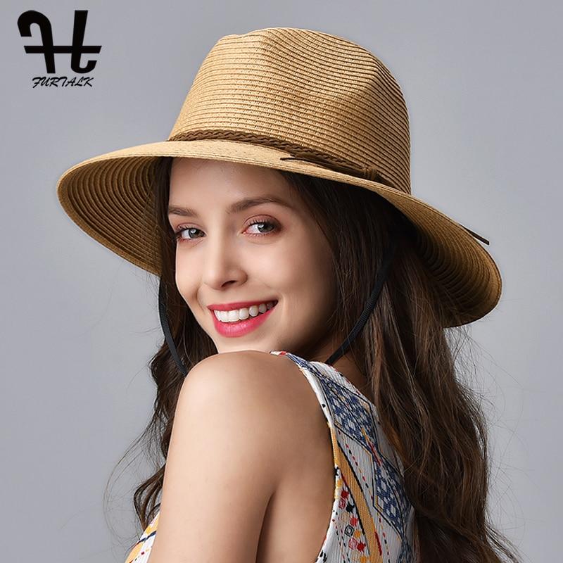 FURTALK Summer Hat for Women Straw Beach Hat Panama Sun Hats Fedora Bucket Caps for Female Summer Beach UV Cap chapeau femme 1