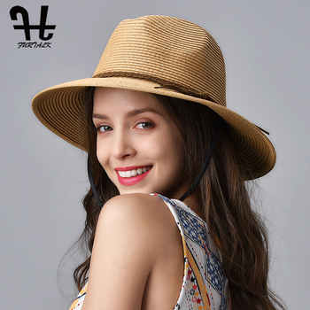 FURTALK Summer Hat for Women Straw Beach Hat Panama Sun Hats Fedora Bucket Caps for Female Summer Beach UV Cap chapeau femme 1