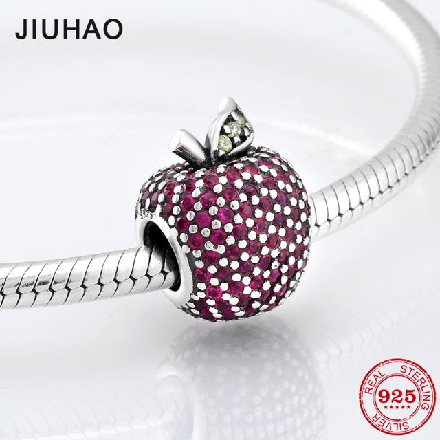 Hot Koop Sieraden Apple Bead Roze Rood Kleurrijke Zirconia Kralen 925 Sterling Zilver Fit Originele Jiuhao Charms Armband SieradenKralen