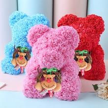 Christmas Gift 40cm Red Bear Rose Artificial Soap Roses Teddi Eternal Flower Valentine Garland Girl Friend Love