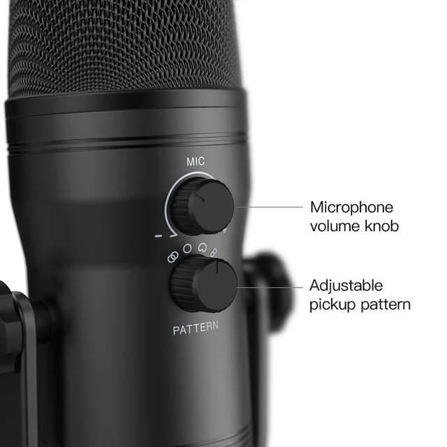 USB Recording Microphone Computer Podcast Microphone for PC / PS4 / Mac, Four Pickup Patterns for Voices