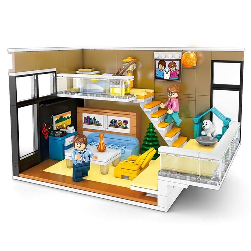 Город идеи уличный вид строительство дуплекс комнаты строительные блоки кирпичи классическая модель собаки детские игрушки Совместимые