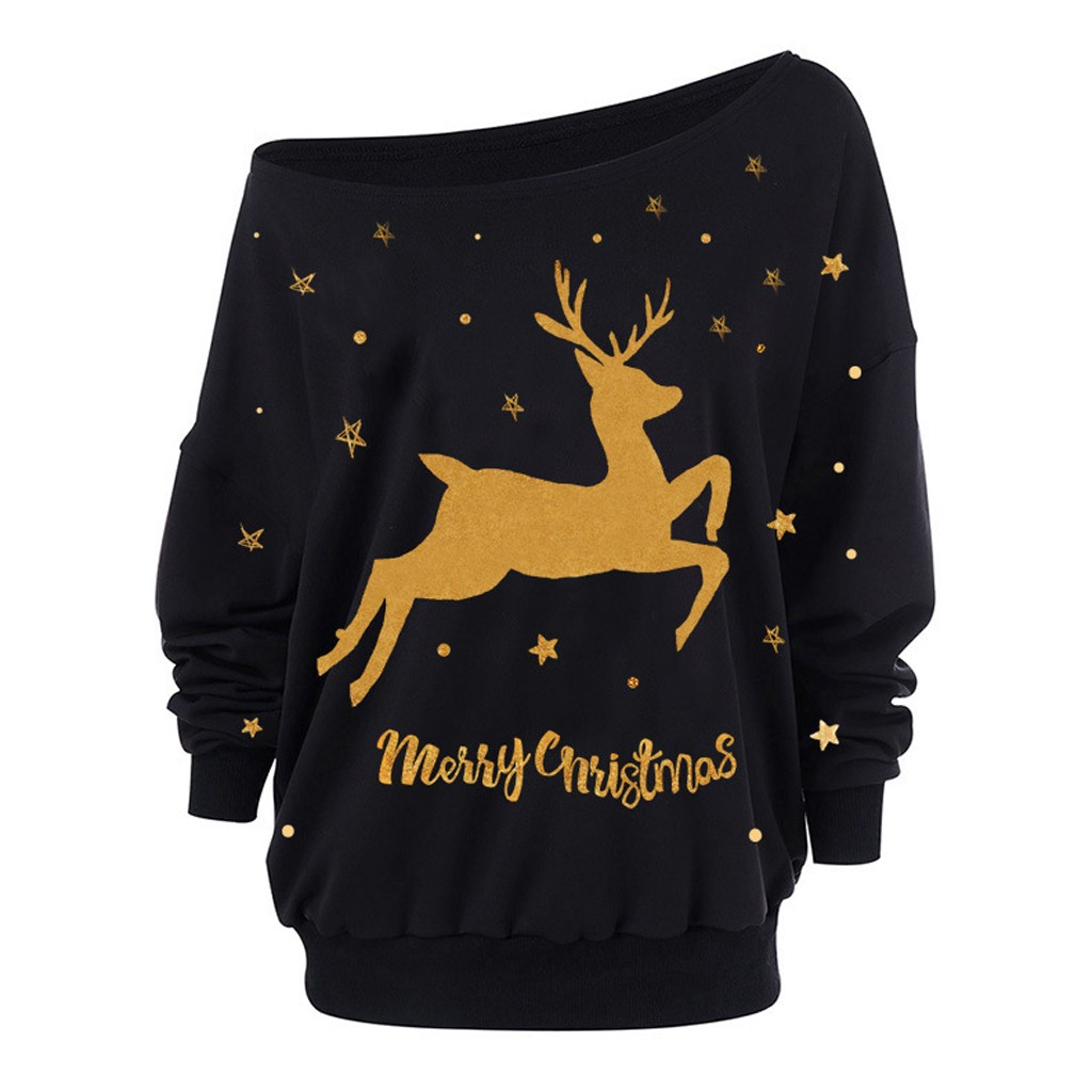 Christmas Deer Print Women's Plus Size Blouse Fashion Slash Neck Loose Long Sleeve Off-Shoulder Sweatshirt рубашка женская 2020