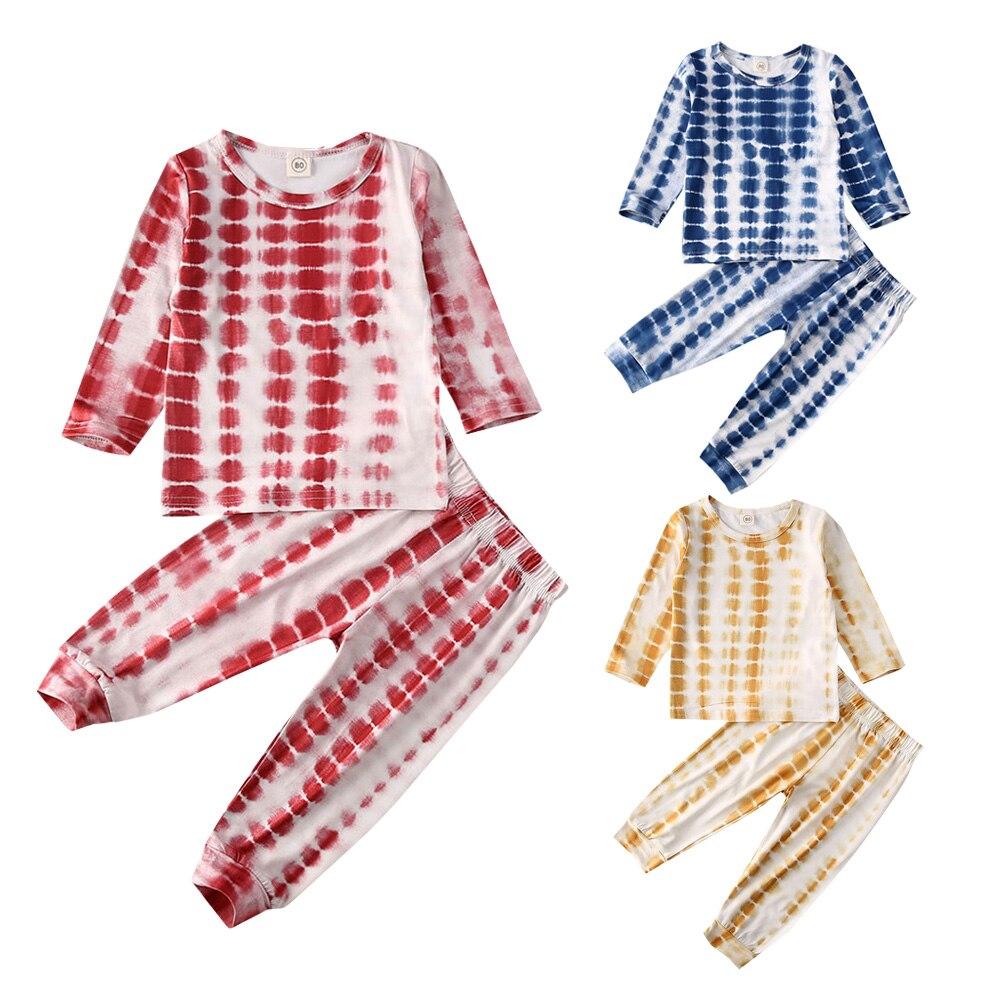 2Pcs Kid Baby Girl Boy Clothes Long Sleeve Top Pullover Pants Leggings Outfit  T-Shirt Top and Pants Pajamas Set 1