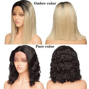 Image 2 - SNOILITE short ombre bob u part lace front wig Synthetic free lace part 12.5*3 lace front wig Bob wavy hair wigs for women