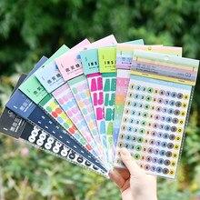 Jianwu 2 folhas número simples planejador do alfabeto adesivos decorativos diy base pequeno fresco kawaii jornal material escolar
