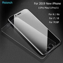 Rsionch מזג זכוכית עבור iPhone 11 פרו מקס i11 XS Max XR 9H מסך מגן מגן זכוכית עבור iPhone 11 פרו 8 7 6s בתוספת 5S