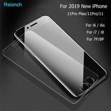 Rsionch 강화 유리 iphone 11 pro max i11 xs max xr 9 h 화면 보호기 iphone 11 pro 8 7 6s plus 5s 용 보호 유리