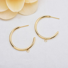 (123) 10PCS 30MM 24K Gold Color Round with Hanging Hole Stud Earrings High Quality DIY Jewelry Making Findings